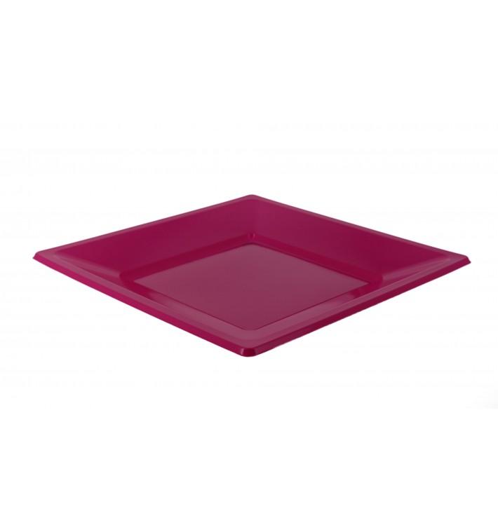 Assiette Plastique Carrée Plate Fuchsia 230mm (25 Utés)