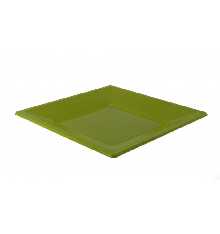 Assiette Plastique Carrée Plate Pistache 230mm (180 Utés)