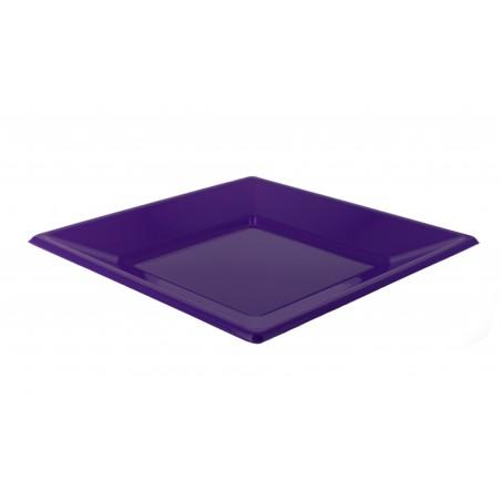 Assiette Plastique Carrée Plate Lilas 230mm (750 Unités)