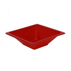 Bol carré en plastique rouge 120x120x40mm (720 Utés)