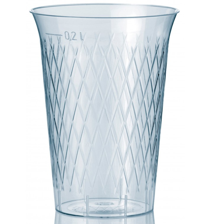 Verre Plastique Dur Diamant Transparent 200ml (50 Utés)