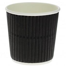 Gobelet Carton 4Oz/120ml Ondulé Noir Ø6,0cm (40 Unités)