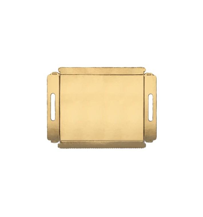 Plateau carton avec poignées metallisées 12x19cm (100 Utés)