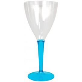 Verre à Vin Plastique Turquoise 130ml (6 Unités)