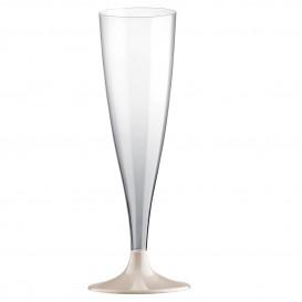 Flûte Champagne Plastique Pied Crème 140ml (20 Unités)