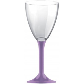 Flûte Plastique Vin Pied Lilas 180ml 2P (20 Utés)