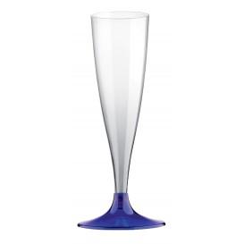 Flûte Champagne Plastique Pied Bleu Transp. 140ml (20 Unités)