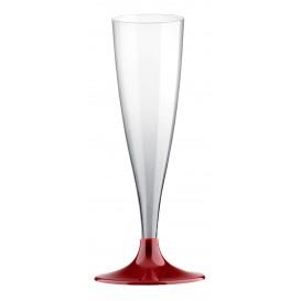 Flûte Champagne Plastique Pied Bordeaux 140ml (20 Unités)