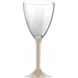 Flûte Plastique Vin Pied Beige 180ml (20 Unités)