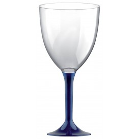 Flûte en Plastique Vin Pied Bleu 300ml (200 Unités)
