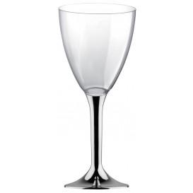 Flûte Plastique Vin Pied Argent Chrome 180ml (20 Unités)
