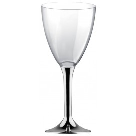 Flûte Plastique Vin Pied Argent Chrome 180ml (200 Unités)