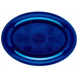 Plateau Plastique Ovale Bleu Round PP 315x220mm  (25 Utés)