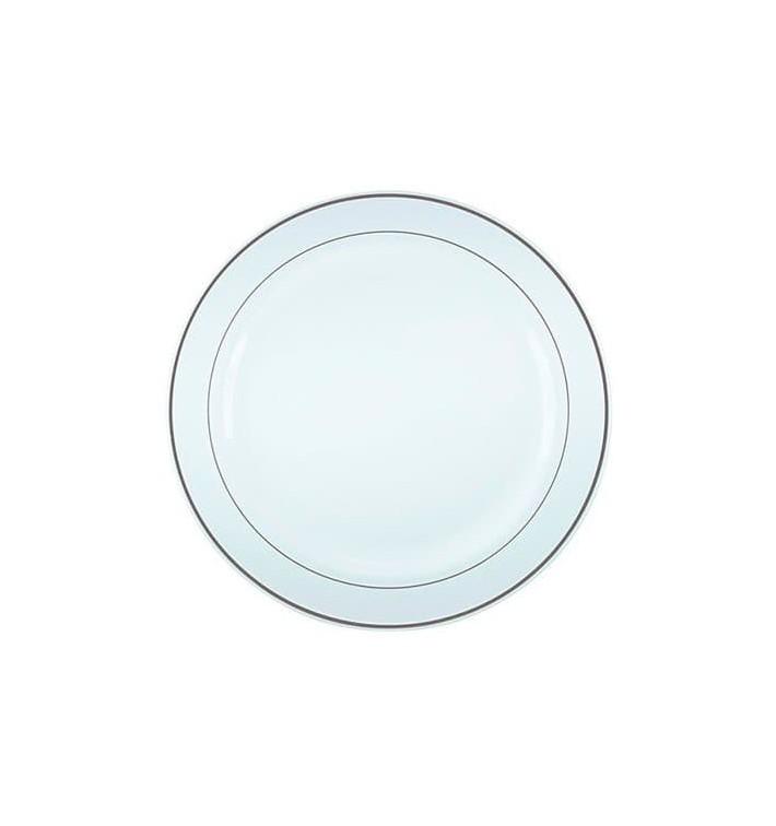 Assiette en Plastique Dur avec Liseré Argent 23cm (200 Utés)