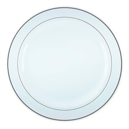 Assiette en Plastique Dur avec Liseré Argent 26cm (20 Utés)