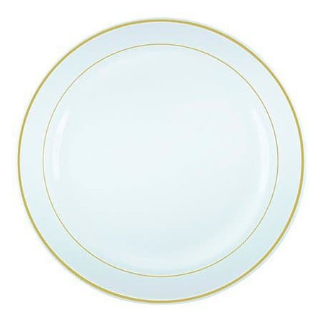 Assiette en Plastique Dur avec Liseré Or 15cm (200 Utés)