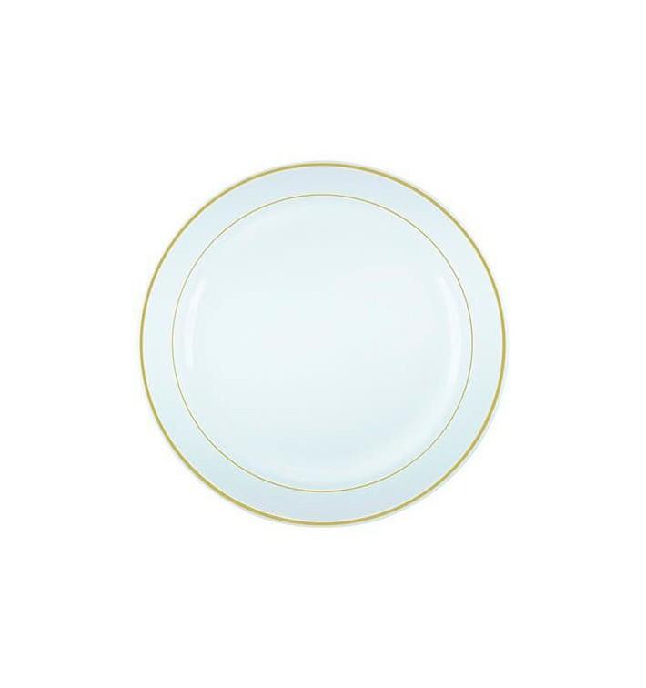 Assiette en Plastique Dur avec Liseré Or 26cm (200 Utés)