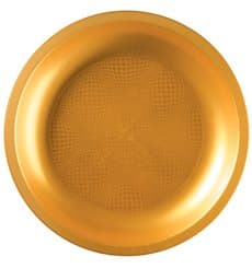 Assiette en Plastique Or Round PP Ø290mm (10 Utés)