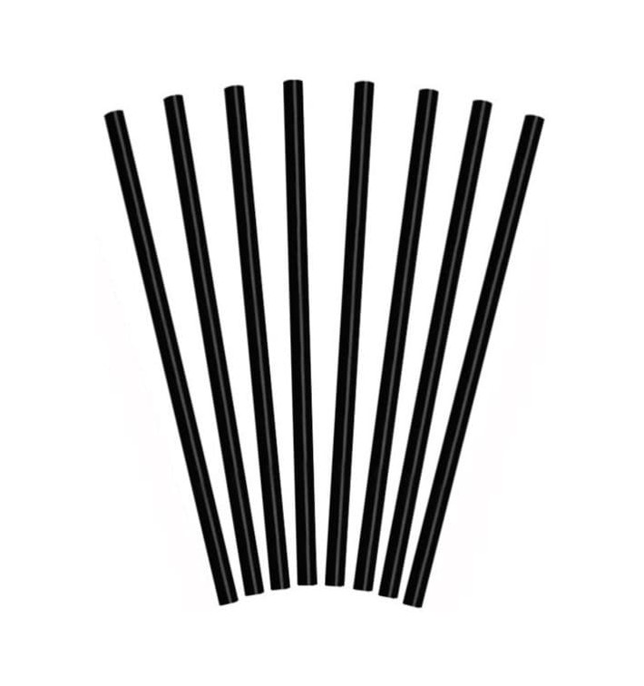 Paille pour Granités  Ø8mm 25cm Noire (1000 Pièces)