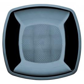 Assiette Plastique Plate Noir PS 180mm (25 Utés)