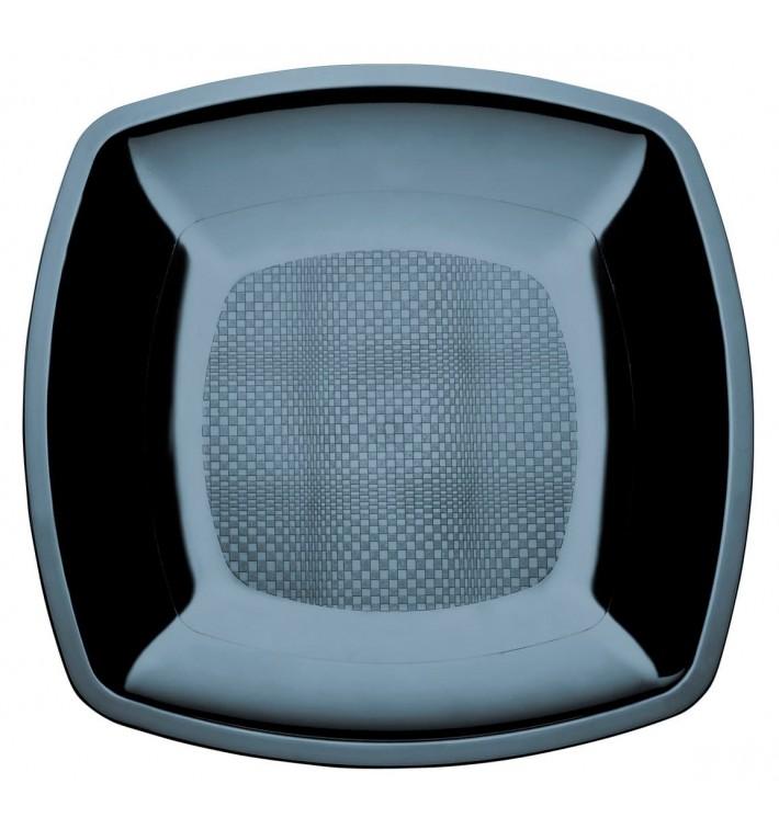 Assiette Plastique Plate Noir Square PS 180mm (300 Utés)