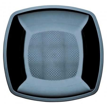Assiette Plastique Plate Noir Square PS 180mm (150 Utés)