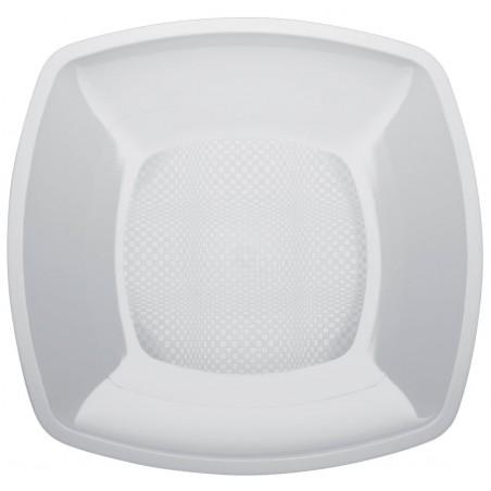 Assiette Plastique Plate Carrée Blanc Square PP 180mm (25 Utés)