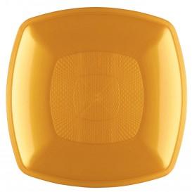 Assiette Plastique Plate Or Square PP 230mm (12 Utés)