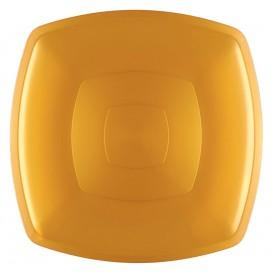 Assiette Plastique Plate Or Square PS 300mm (144 Utés)