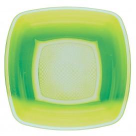 Assiette Plastique Creuse Vert citron Square PP 180mm (25 Utés)