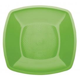 Assiette Plastique Plate Vert Citron Square PP 230mm (25 Utés)