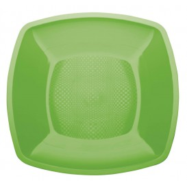 Assiette Plastique Plate Vert citron Square PP 230mm (300 Utés)