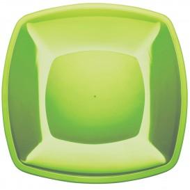 Assiette Plastique Plate Vert Citron Square PS 300mm (12 Utés)