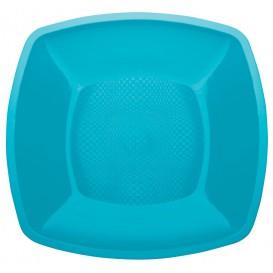 Assiette Plate Turquoise Square PP 230mm (25 Utés)