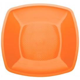 Assiette Plastique Plate Orange Square PP 180mm (25 Utés)
