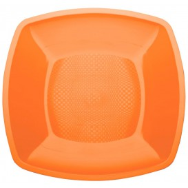 Assiette Plastique Plate Orange Square PP 230mm (300 Utés)