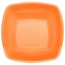 Assiette Plastique Creuse Orange Square PP 180mm (300 Utés)