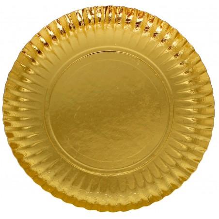 Assiette ronde Carton Doré 230mm (300 Unités)