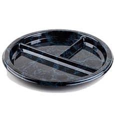 Assiette en Plastique Rond 3 compartiments Marbré 26 cm (25 Utés)