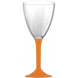 Flûte Plastique Vin Pied Orange 180ml (20 Unités)