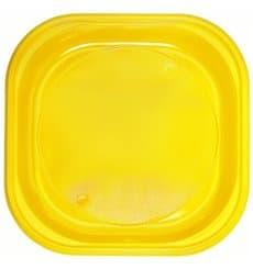Assiette Plastique PS Carrée Jaune 200x200mm (30 Utés)