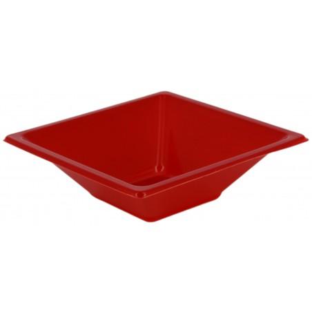 Bol carré en plastique rouge 120x120x40mm (12 Utés)