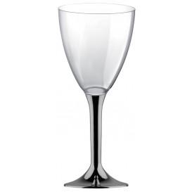 Flûte Plastique Vin Pied Nickel Chrome 180ml 2P (20 Utés)