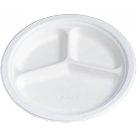 Assiette en Carton Fibre 3 Compartiments 260mm (540 Unités)
