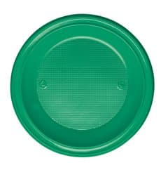 Assiette Plastique PS Creuse Vert Ø220mm (30 Unités)
