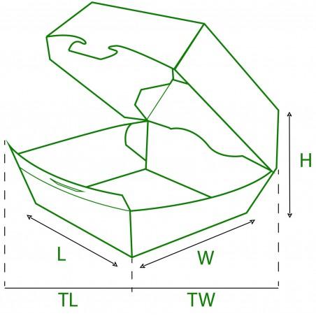 Boîte à Hamburger Carton 12x12x7 cm (25 Unités)