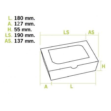 Boîte Carton avec Fenêtre 18x12,7x5,5cm 1000ml  (175 Utés)