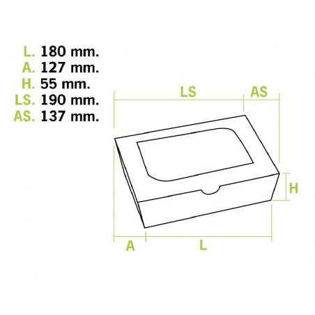 Boîte Carton avec Fenêtre 18x12,7x5,5cm 1000ml (25 Utés)
