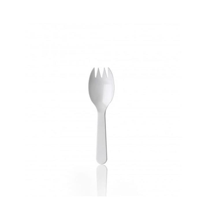 Fourchette Plastique Spork blanche 98mm (100 Unités)