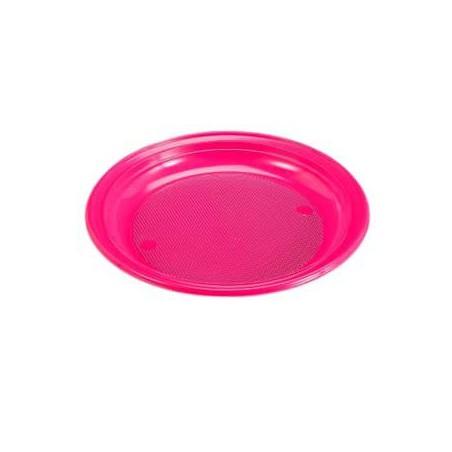 Plato de Plastico Llano 205mm color Fucsia (960 Uds)